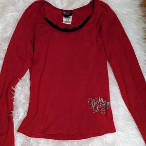 Harley-Davidson Tops - Pretty red with black lace Harley Davidson top
